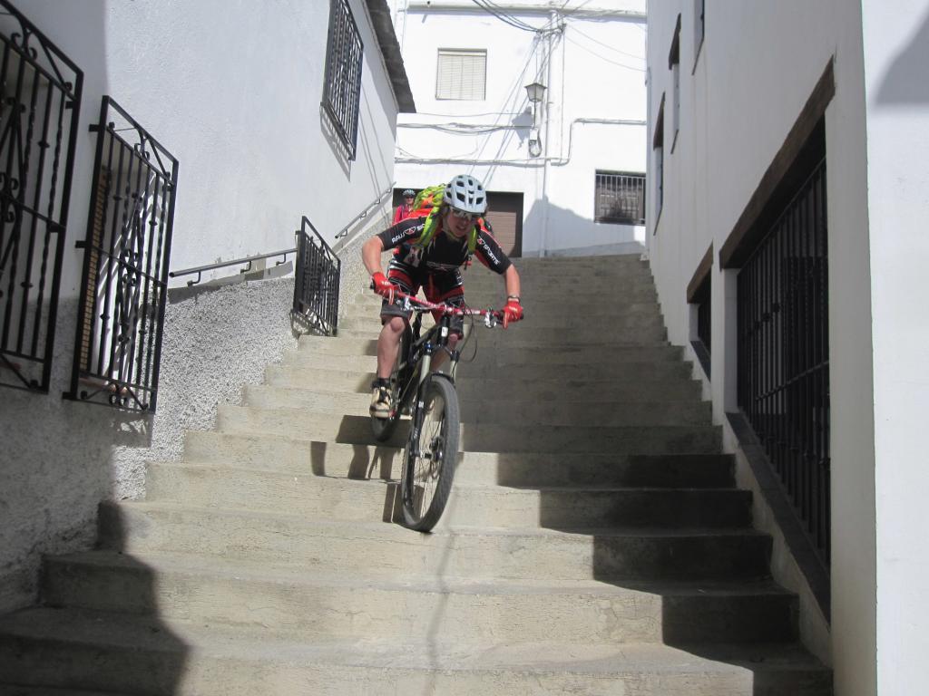 Katy on village steps