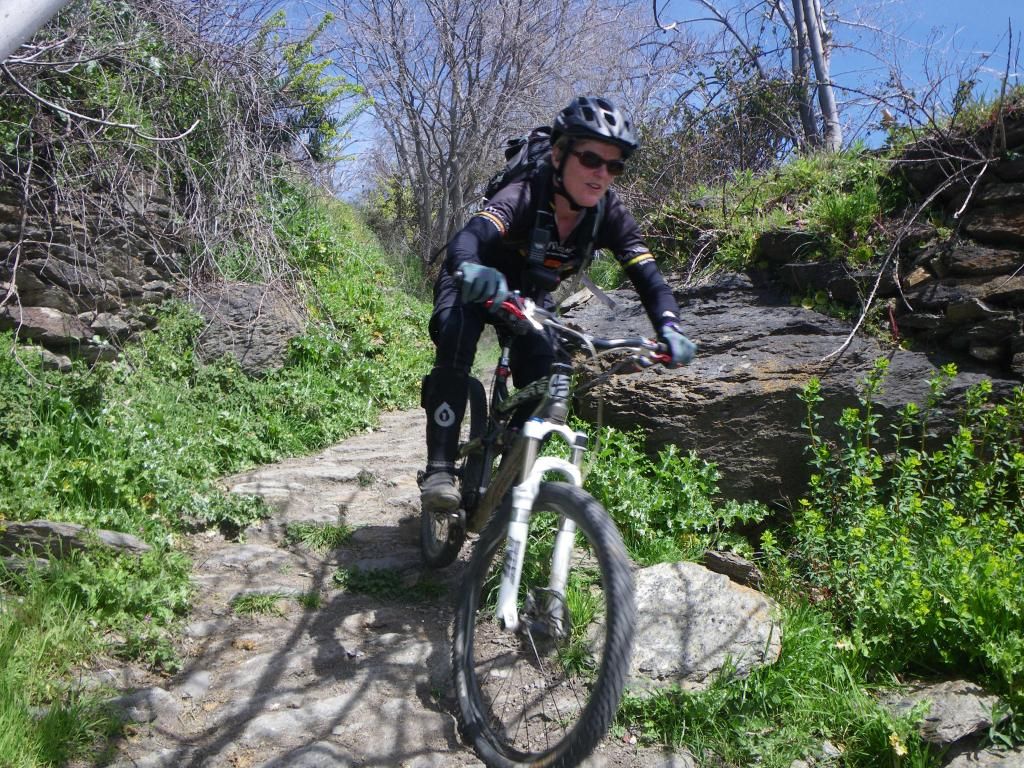Jenny on village singletrack