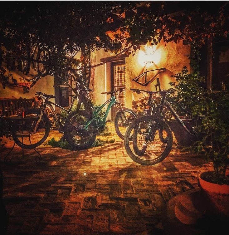Bikes all tucked up for the night.