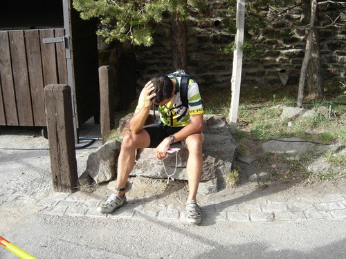 tired but happy Spanish cyclist